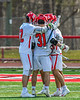 Baldwinsville Bees players celebrate a goal against the Victor Blue Devils in Section III Boys Lacrosse action at the Pelcher-Arcaro Stadium in Baldwinsville, New York on Friday, April 6, 2019.  Victor won 9-7.