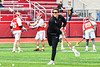 Baldwinsville Bees Assistant Coach Andy Lamb in pre-game warm ups before playing the Victor Blue Devils in a Section III Boys Lacrosse game at the Pelcher-Arcaro Stadium in Baldwinsville, New York on Friday, April 6, 2019.