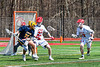 Baldwinsville Bees Cameron Sweeney (21) and Caleb Voorhees (17) defending against Victor Blue Devils Joey Pezzimenti (19) in Section III Boys Lacrosse action at the Pelcher-Arcaro Stadium in Baldwinsville, New York on Friday, April 6, 2019.  Victor won 9-7.