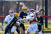 Baldwinsville Bees Spencer Wirtheim (10) gets a shot off against the Victor Blue Devils in Section III Boys Lacrosse action at the Pelcher-Arcaro Stadium in Baldwinsville, New York on Friday, April 6, 2019.  Victor won 9-7.