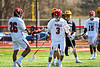 Baldwinsville Bees Adam Davis (3) celebrates his goal against the Victor Blue Devils in Section III Boys Lacrosse action at the Pelcher-Arcaro Stadium in Baldwinsville, New York on Friday, April 6, 2019.  Victor won 9-7.