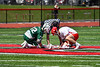 Baldwinsville Bees Jake Walsh (4) and Fayetteville-Manlius Hornets Logan Wilkinson (32) before a face-off in Section III Boys Lacrosse action at the Pelcher-Arcaro Stadium in Baldwinsville, New York on Saturday, April 13, 2019.  Baldwinsville won 16-5.