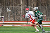 Baldwinsville Bees Braden Lynch (13) defending against a Fayetteville-Manlius Hornets player in Section III Boys Lacrosse action at the Pelcher-Arcaro Stadium in Baldwinsville, New York on Saturday, April 13, 2019.  Baldwinsville won 16-5.