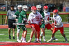 Baldwinsville Bees Braden Lynch (13) comes up with a ground ball against the Fayetteville-Manlius Hornets in Section III Boys Lacrosse action at the Pelcher-Arcaro Stadium in Baldwinsville, New York on Saturday, April 13, 2019.  Baldwinsville won 16-5.