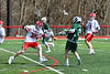 Fayetteville-Manlius Hornets Jack Shanley (22) shoots and scores a goal against the Baldwinsville Bees in Section III Boys Lacrosse action at the Pelcher-Arcaro Stadium in Baldwinsville, New York on Saturday, April 13, 2019.  Baldwinsville won 16-5.