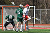 Baldwinsville Bees Jake Walsh (4) celebrates his goal against the Fayetteville-Manlius Hornets in Section III Boys Lacrosse action at the Pelcher-Arcaro Stadium in Baldwinsville, New York on Saturday, April 13, 2019.  Baldwinsville won 16-5.