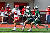 Baldwinsville Bees Michael Tangredi (26) running with the ball against as Fayetteville-Manlius Hornetsplayers give chase in Section III Boys Lacrosse action at the Pelcher-Arcaro Stadium in Baldwinsville, New York on Saturday, April 13, 2019.  Baldwinsville won 16-5.