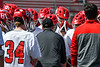 Baldwinsville Bees Head Coach Matt Wilcox talks to his team before they played the Fayetteville-Manlius Hornets in a Section III Boys Lacrosse game at the Pelcher-Arcaro Stadium in Baldwinsville, New York on Saturday, April 13, 2019.