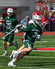 Fayetteville-Manlius Hornets Max Cramer (3) with the ball against the Baldwinsville Bees in Section III Boys Lacrosse action at the Pelcher-Arcaro Stadium in Baldwinsville, New York on Saturday, April 13, 2019.  Baldwinsville won 16-5.