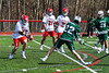 Fayetteville-Manlius Hornets Jack Shanley (22) winds up for a shot against the Baldwinsville Bees in Section III Boys Lacrosse action at the Pelcher-Arcaro Stadium in Baldwinsville, New York on Saturday, April 13, 2019.  Baldwinsville won 16-5.