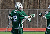 Fayetteville-Manlius Hornets Jack Shanley (22) celebrates his goal against the Baldwinsville Bees in Section III Boys Lacrosse action at the Pelcher-Arcaro Stadium in Baldwinsville, New York on Saturday, April 13, 2019.  Baldwinsville won 16-5.