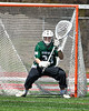 Fayetteville-Manlius Hornets goalie Ben Hammond (33) in net against the Baldwinsville Bees in Section III Boys Lacrosse action at the Pelcher-Arcaro Stadium in Baldwinsville, New York on Saturday, April 13, 2019.  Baldwinsville won 16-5.