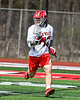 Baldwinsville Bees Connor Steria (12) with the ball against the Fayetteville-Manlius Hornets in Section III Boys Lacrosse action at the Pelcher-Arcaro Stadium in Baldwinsville, New York on Saturday, April 13, 2019.  Baldwinsville won 16-5.