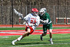 Baldwinsville Bees Brendan Wilcox (22) with the ball against a Fayetteville-Manlius Hornets defender in Section III Boys Lacrosse action at the Pelcher-Arcaro Stadium in Baldwinsville, New York on Saturday, April 13, 2019.  Baldwinsville won 16-5.