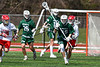 Fayetteville-Manlius Hornets Pratt Reynolds (25) running with the ball against the Baldwinsville Bees in Section III Boys Lacrosse action at the Pelcher-Arcaro Stadium in Baldwinsville, New York on Saturday, April 13, 2019.  Baldwinsville won 16-5.