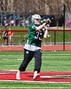 Fayetteville-Manlius Hornets goalie Ben Hammond (33) looking to make a play against the Baldwinsville Bees in Section III Boys Lacrosse action at the Pelcher-Arcaro Stadium in Baldwinsville, New York on Saturday, April 13, 2019.  Baldwinsville won 16-5.