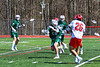 Baldwinsville Bees Michael Tangredi (26) shoots and scores a goal against the Fayetteville-Manlius Hornets in Section III Boys Lacrosse action at the Pelcher-Arcaro Stadium in Baldwinsville, New York on Saturday, April 13, 2019.  Baldwinsville won 16-5.