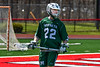 Fayetteville-Manlius Hornets Jack Shanley (22) looking to make a play against the Baldwinsville Bees in Section III Boys Lacrosse action at the Pelcher-Arcaro Stadium in Baldwinsville, New York on Saturday, April 13, 2019.  Baldwinsville won 16-5.