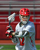Baldwinsville Bees Connor Steria (12) warming up before playing the Fayetteville-Manlius Hornets in a Section III Boys Lacrosse game at the Pelcher-Arcaro Stadium in Baldwinsville, New York on Saturday, April 13, 2019.