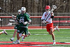Baldwinsville Bees Braden McCard (31) with the ball against the Fayetteville-Manlius Hornets in Section III Boys Lacrosse action at the Pelcher-Arcaro Stadium in Baldwinsville, New York on Saturday, April 13, 2019.  Baldwinsville won 16-5.