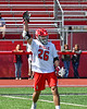 Baldwinsville Bees Michael Tangredi (26) celebrates his goal against the Fayetteville-Manlius Hornets in Section III Boys Lacrosse action at the Pelcher-Arcaro Stadium in Baldwinsville, New York on Saturday, April 13, 2019.  Baldwinsville won 16-5.