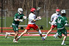 Baldwinsville Bees Jake Walsh (4) winds up for a shot at the Fayetteville-Manlius Hornets net in Section III Boys Lacrosse action at the Pelcher-Arcaro Stadium in Baldwinsville, New York on Saturday, April 13, 2019.  Baldwinsville won 16-5.