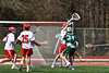 Baldwinsville Bees goalie Daniel Stehle (34) makes a save against Fayetteville-Manlius Hornets in Section III Boys Lacrosse action at the Pelcher-Arcaro Stadium in Baldwinsville, New York on Saturday, April 13, 2019.  Baldwinsville won 16-5.