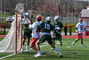 Baldwinsville Bees Spencer Wirtheim (10) shots and scores a goal over Fayetteville-Manlius Hornets goalie Jack VanValkenburgh (23) in Section III Boys Lacrosse action at the Pelcher-Arcaro Stadium in Baldwinsville, New York on Saturday, April 13, 2019.  Baldwinsville won 16-5.