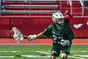 Fayetteville-Manlius Hornets goalie Jack VanValkenburgh (23) with the ball against the Baldwinsville Bees in Section III Boys Lacrosse action at the Pelcher-Arcaro Stadium in Baldwinsville, New York on Saturday, April 13, 2019.  Baldwinsville won 16-5.