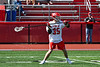 Baldwinsville Bees Carter Gates (35) about to pass the ball against the Fayetteville-Manlius Hornets in Section III Boys Lacrosse action at the Pelcher-Arcaro Stadium in Baldwinsville, New York on Saturday, April 13, 2019.  Baldwinsville won 16-5.