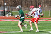 Baldwinsville Bees Braden Lynch (13) knocks the ball from a Fayetteville-Manlius Hornets player in Section III Boys Lacrosse action at the Pelcher-Arcaro Stadium in Baldwinsville, New York on Saturday, April 13, 2019.  Baldwinsville won 16-5.