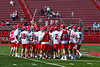 Baldwinsville Bees huddle up before warming up to play the Fayetteville-Manlius Hornets in a Section III Boys Lacrosse game at the Pelcher-Arcaro Stadium in Baldwinsville, New York on Saturday, April 13, 2019.