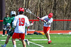 Baldwinsville Bees Connor Steria (12) fires the ball at  the Fayetteville-Manlius Hornets net in Section III Boys Lacrosse action at the Pelcher-Arcaro Stadium in Baldwinsville, New York on Saturday, April 13, 2019.  Baldwinsville won 16-5.