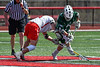 Fayetteville-Manlius Hornets Logan Wilkinson (32) wins a face-off against Baldwinsville Bees Jake Walsh (4) in Section III Boys Lacrosse action at the Pelcher-Arcaro Stadium in Baldwinsville, New York on Saturday, April 13, 2019.  Baldwinsville won 16-5.