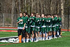 Fayetteville-Manlius Hornets stand for the National Anthem before playing a Section III Boys Lacrosse game againstthe Baldwinsville Bees at the Pelcher-Arcaro Stadium in Baldwinsville, New York on Saturday, April 13, 2019.