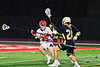 Baldwinsville Bees Carter Gates (35) protecting the ball from West Genesee Wildcats players Anthony Dattellas (24) and Alex Rosa (31) in Section III Boys Lacrosse action at the Pelcher-Arcaro Stadium in Baldwinsville, New York on Tuesday, April 23, 2019. Baldwinsville won 16-6.