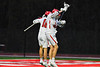 Baldwinsville Bees Brendan Wilcox (22) and Spencer Wirtheim (10) celebrate the goal by Wirtheirm against the West Genesee Wildcats in Section III Boys Lacrosse action at the Pelcher-Arcaro Stadium in Baldwinsville, New York on Tuesday, April 23, 2019. Baldwinsville won 16-6.