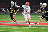 Baldwinsville Bees Jake Walsh (4) wins a face-off against the West Genesee Wildcats in Section III Boys Lacrosse action at the Pelcher-Arcaro Stadium in Baldwinsville, New York on Tuesday, April 23, 2019. Baldwinsville won 16-6.