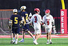 Baldwinsville Bees Adam Davis (3) congratulates Noah Ravas (9) on his goal against the West Genesee Wildcats in Section III Boys Lacrosse action at the Pelcher-Arcaro Stadium in Baldwinsville, New York on Tuesday, April 23, 2019. Baldwinsville won 16-6.
