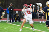 Baldwinsville Bees Michael Tangredi (26) lining up and shooting the ball at the West Genesee Wildcats net in Section III Boys Lacrosse action at the Pelcher-Arcaro Stadium in Baldwinsville, New York on Tuesday, April 23, 2019. Baldwinsville won 16-6.