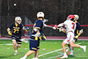 Baldwinsville Bees Adam Davis (3) shoots and scores a goal against the West Genesee Wildcats in Section III Boys Lacrosse action at the Pelcher-Arcaro Stadium in Baldwinsville, New York on Tuesday, April 23, 2019. Baldwinsville won 16-6.