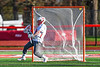 Baldwinsville Bees goalie Daniel Stehle (34) is scored upon by a Corcoran Cougars player in Section III Boys Lacrosse action at the Pelcher-Arcaro Stadium in Baldwinsville, New York on Tuesday, April 30, 2019. Baldwinsville won 20-6.