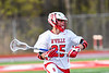 Baldwinsville Bees Cameron Slink (25) with the ball against the Corcoran Cougars in Section III Boys Lacrosse action at the Pelcher-Arcaro Stadium in Baldwinsville, New York on Tuesday, April 30, 2019. Baldwinsville won 20-6.