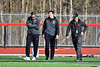 Baldwinsville Bees Head Coach Matt Wilcox and Assistant Coach Andy Lamb before their team played the Corcoran Cougars in a Section III Boys Lacrosse game at the Pelcher-Arcaro Stadium in Baldwinsville, New York on Tuesday, April 30, 2019.