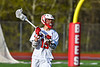 Baldwinsville Bees Austin Bolton (15) with the ball against the Corcoran Cougars in Section III Boys Lacrosse action at the Pelcher-Arcaro Stadium in Baldwinsville, New York on Tuesday, April 30, 2019. Baldwinsville won 20-6.