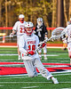 Baldwinsville Bees goalie Andrew Davis (18) with the ball against the Corcoran Cougars in Section III Boys Lacrosse action at the Pelcher-Arcaro Stadium in Baldwinsville, New York on Tuesday, April 30, 2019. Baldwinsville won 20-6.