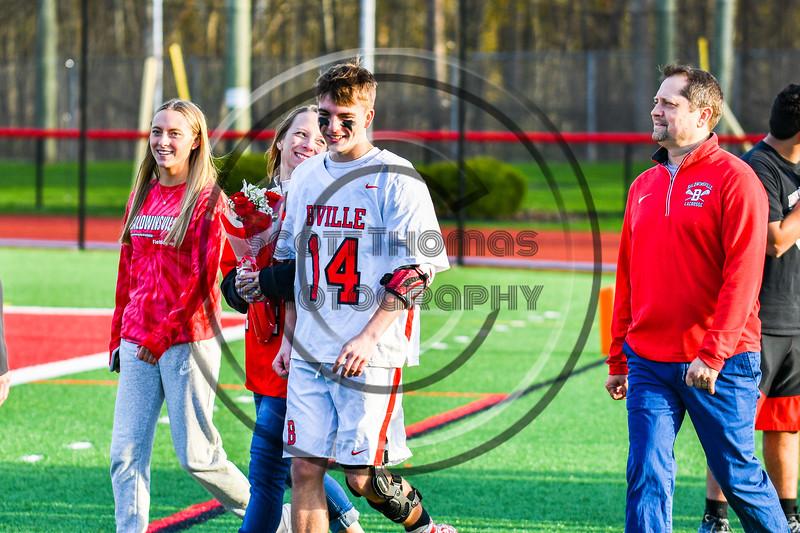 Baldwinsville Bees Senior Matthew Wodka (14) with his family on Senior Night at the Pelcher-Arcaro Stadium in Baldwinsville, New York on Tuesday, April 30, 2019.
