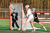 Baldwinsville Bees Casey Scott (20) shoots the ball at Corcoran Cougars goalie Mitchell Garboushian (2) in Section III Boys Lacrosse action at the Pelcher-Arcaro Stadium in Baldwinsville, New York on Tuesday, April 30, 2019. Baldwinsville won 20-6.