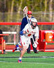 Baldwinsville Bees Ethan Donaghey (8) running towards the face-off circle against the Corcoran Cougars in Section III Boys Lacrosse action at the Pelcher-Arcaro Stadium in Baldwinsville, New York on Tuesday, April 30, 2019. Baldwinsville won 20-6.
