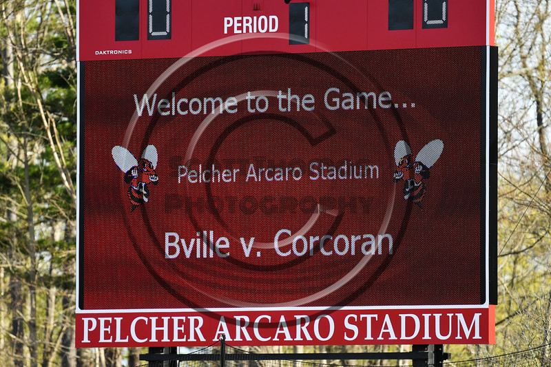 Baldwinsville Bees hosted the Corcoran Cougars in Section III Boys Lacrosse action at the Pelcher-Arcaro Stadium in Baldwinsville, New York on Tuesday, April 30, 2019.